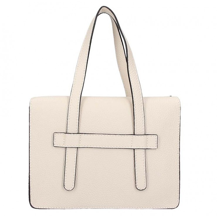 Leather Handbag 5302 beige