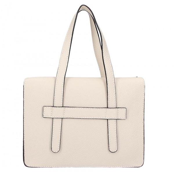 Béžová kožená kabelka na rameno 5302