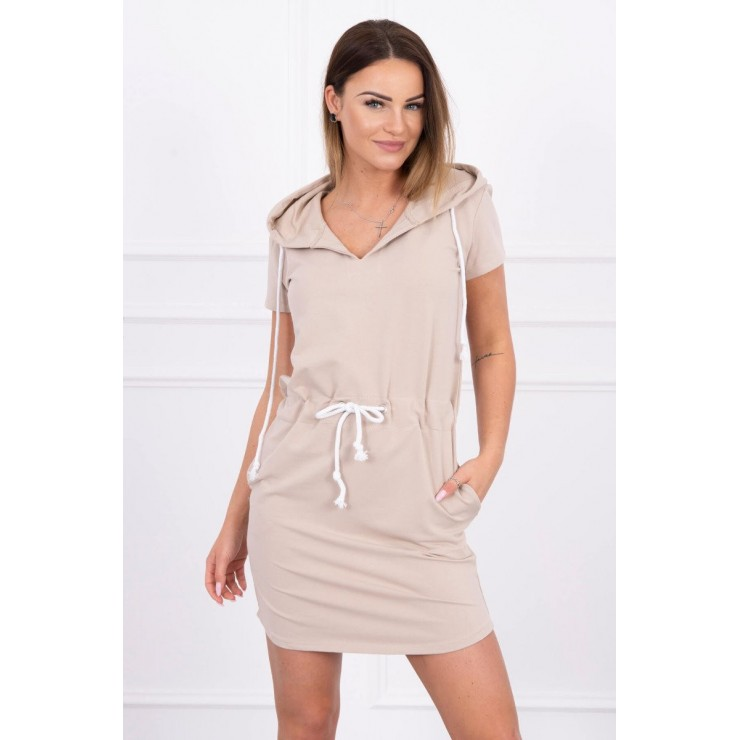 Dress with pockets and hood MI8982 beige