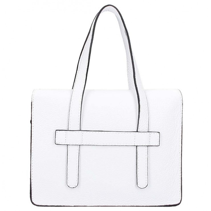 Biela kožená kabelka na rameno 5302