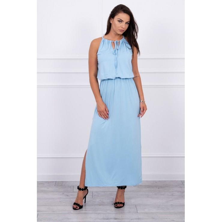 Dlhé šaty s rozparkom MI8893 nebesky modré