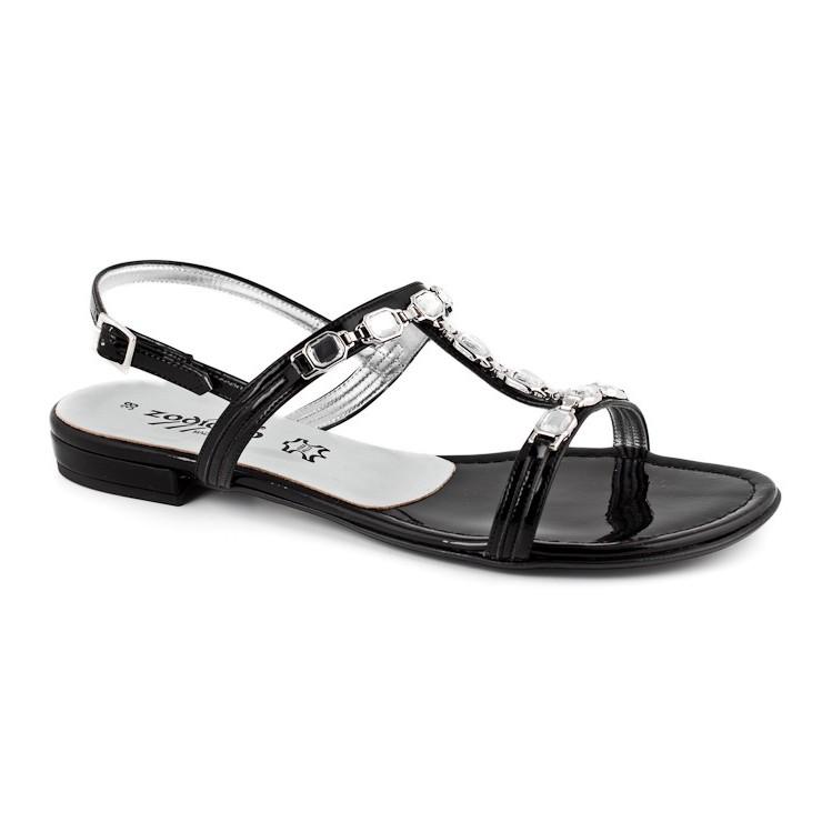 Čierne letné sandále zdobené kamienkami 905