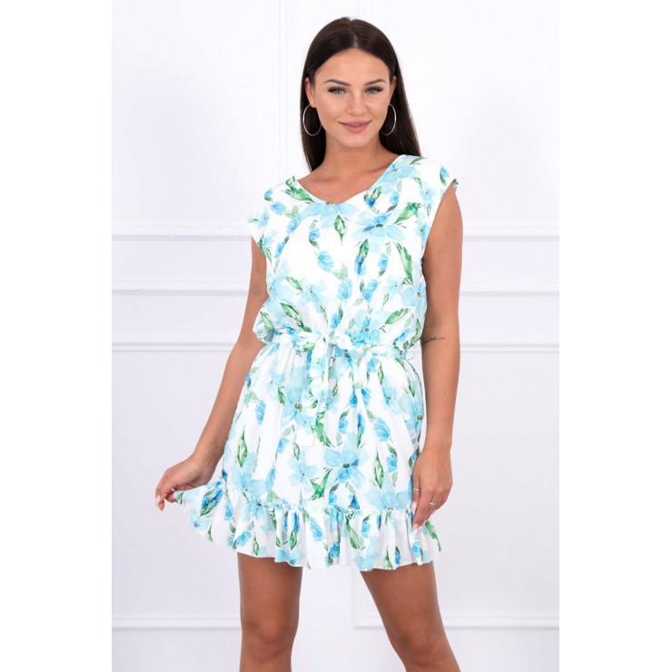 Šaty s kvetinovým vzorom MI65406 nebesky modré