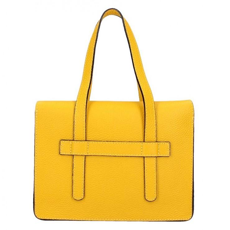 Žltá kožená kabelka na rameno 5302