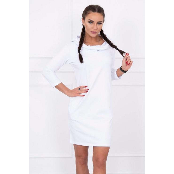 Šaty s kapucňou a vreckami MIG8847 biele