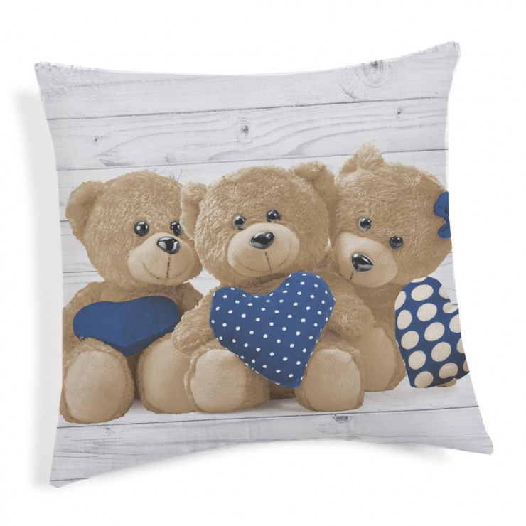 Kissenbezug Teddybär blau 40x40 cm Made in Italy