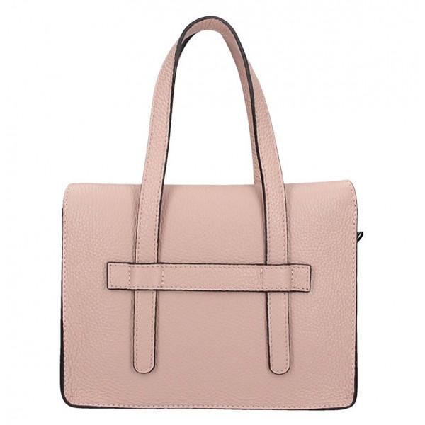 Ružová kožená kabelka na rameno 5302