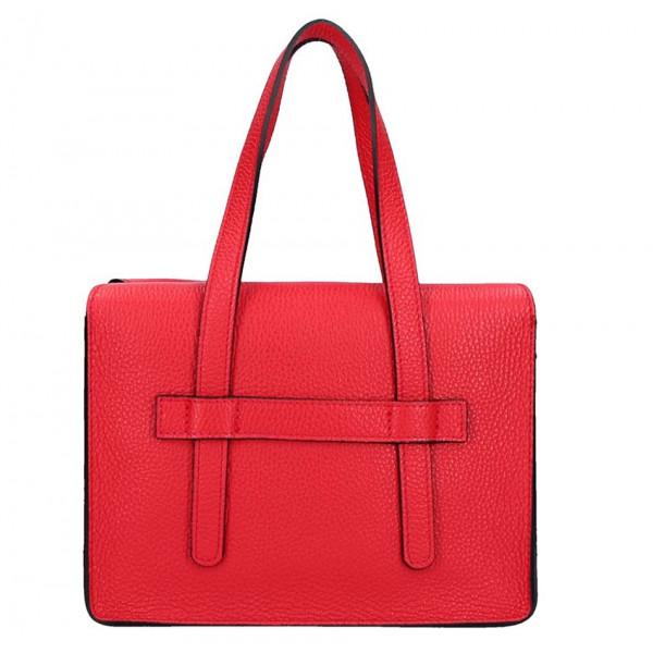 Červená kožená kabelka na rameno 5302