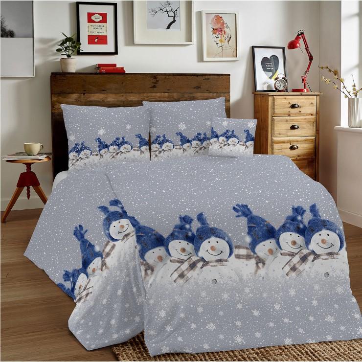 Bavlněné povlečení MIG002 Modří Sněhuláci Made in Italy