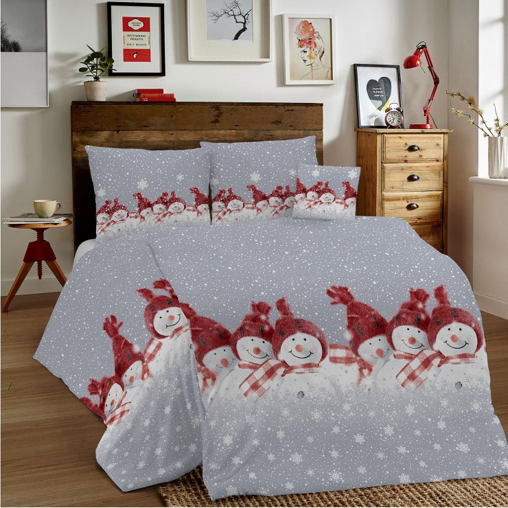 Bavlnené obliečky MIG002 Červení snehuliaci Made in Italy