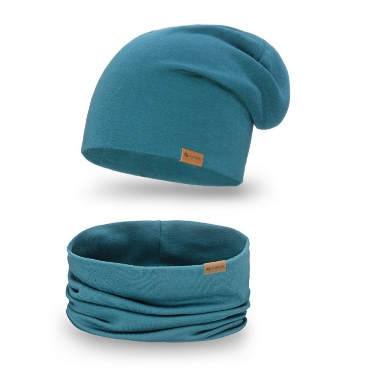 Women's Winter Set hat + scarf  77A turquoise