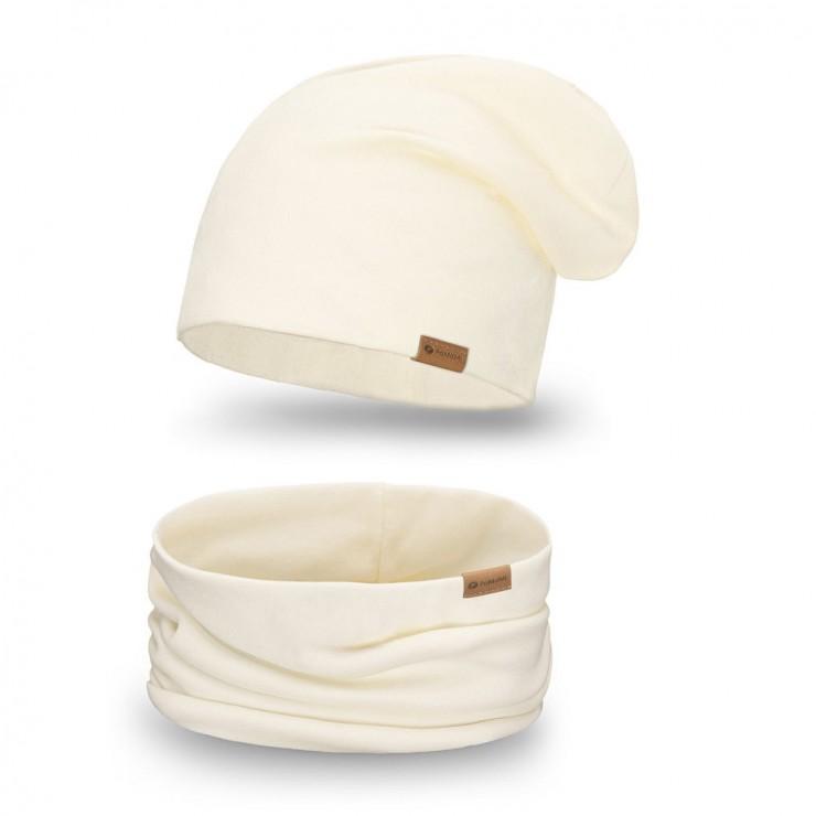 Women's Winter Set hat + scarf  77A cream