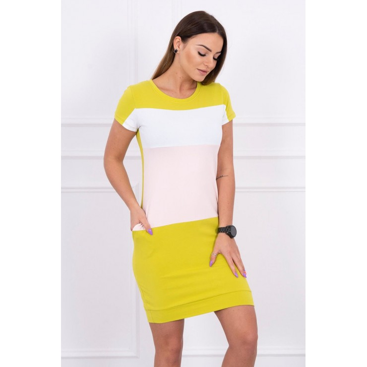 Tri-color women's dress MI8990 green