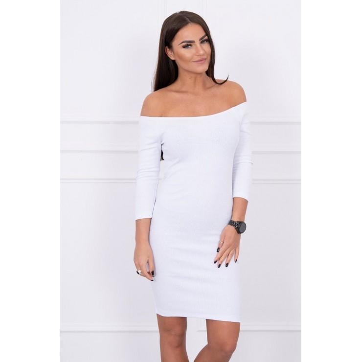 Notched dress with neckline MI8974 white