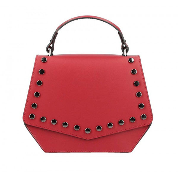 Červená kožená kabelka do ruky 5101