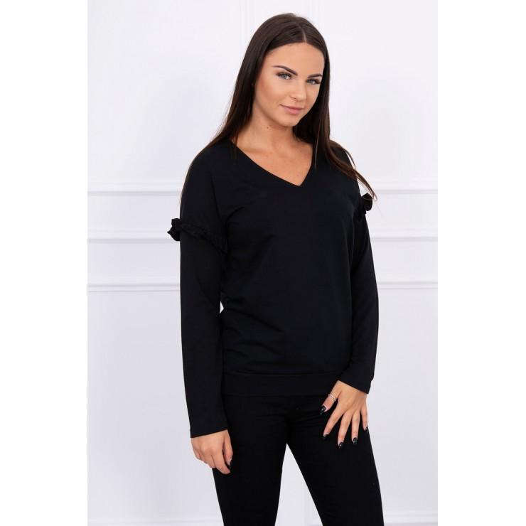 Ladies blouse with ruffle on sleeve MI8948 black