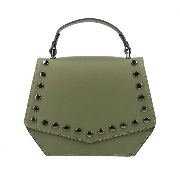 Tmavozelená kožená kabelka do ruky 5101