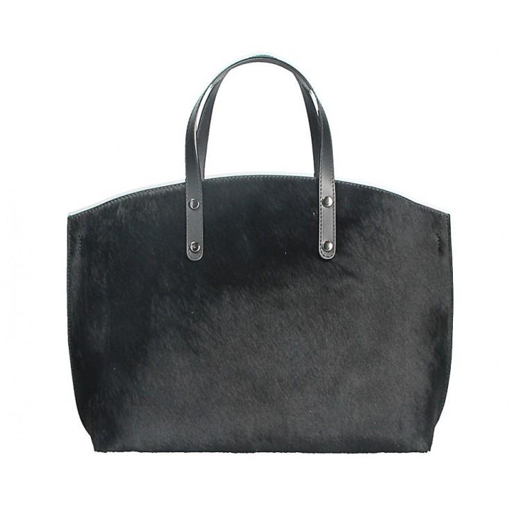 Kožená kabelka MI423 čierna Made in Italy