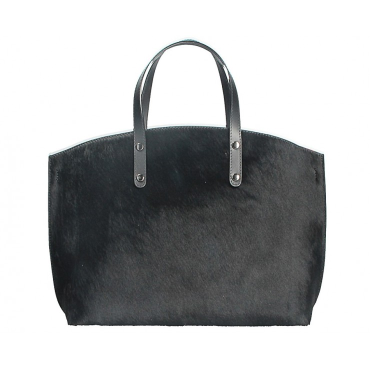 Woman Leather Handbag MI423 black Made in Italy