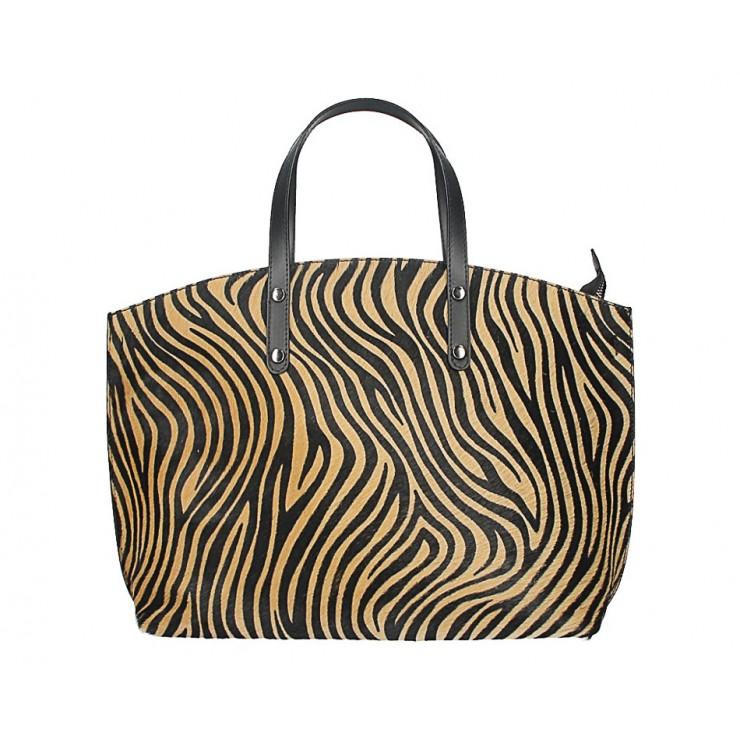 Kožená kabelka MI423 tmavá zebra Made in Italy