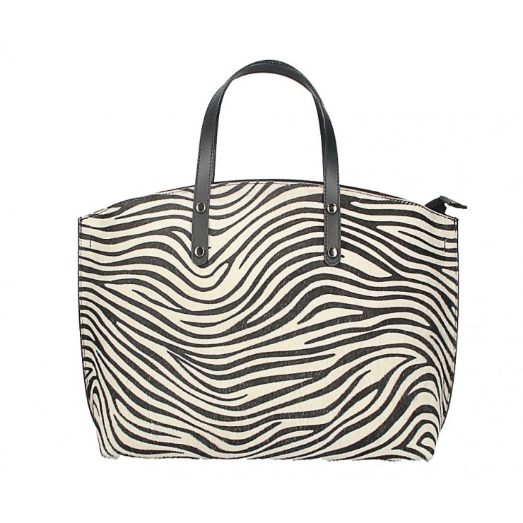 Woman Leather Handbag MI423 zebra Made in Italy