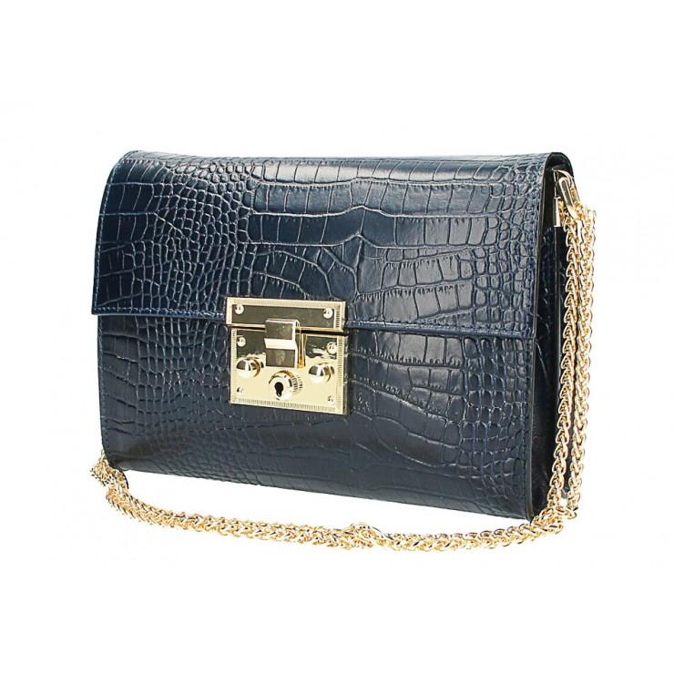 Woman Leather Handbag MI758 dark blue Made in Italy