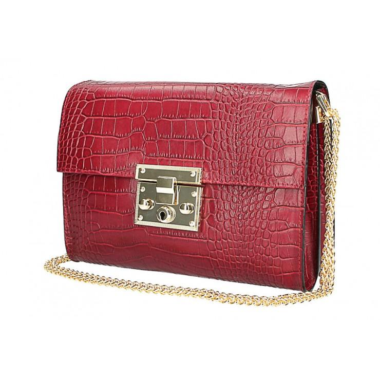 Woman Leather Handbag MI758 bordeaux Made in Italy