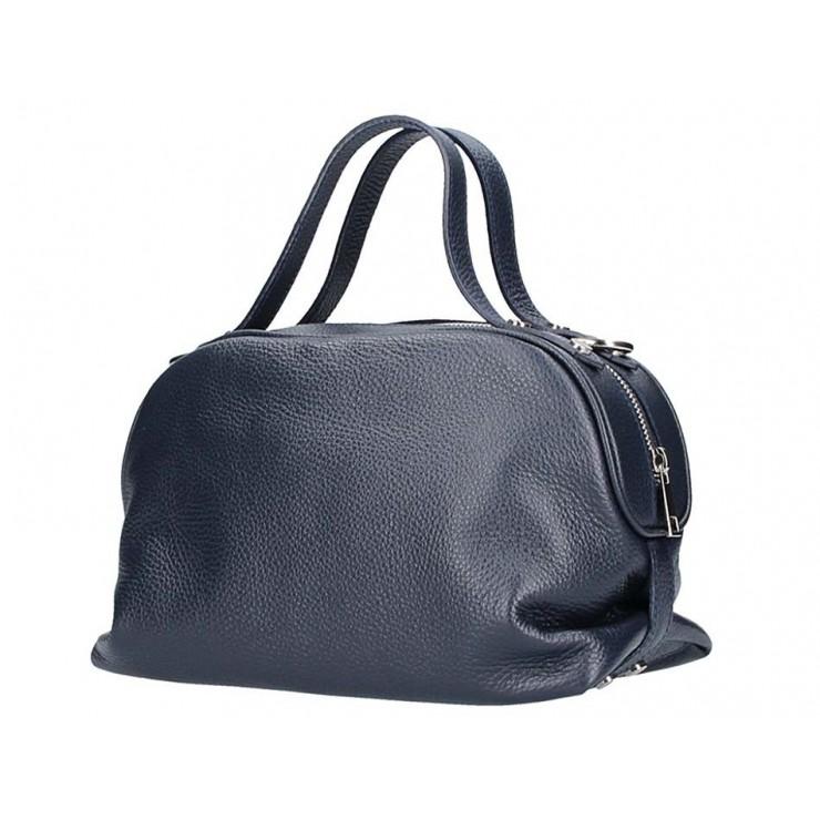 Genuine Leather Handbag 592 dark blue Made in Italy