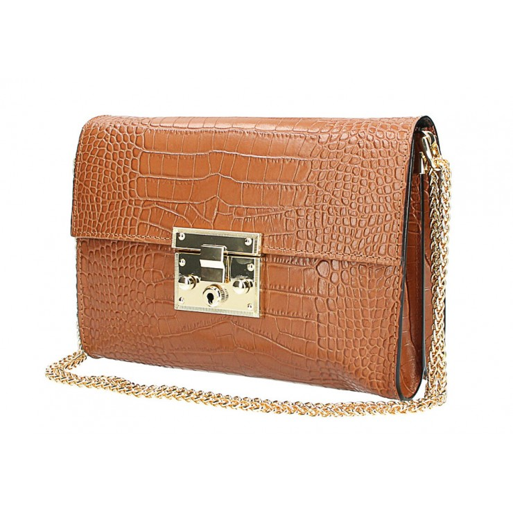 Woman Leather Handbag MI758 cognac Made in Italy