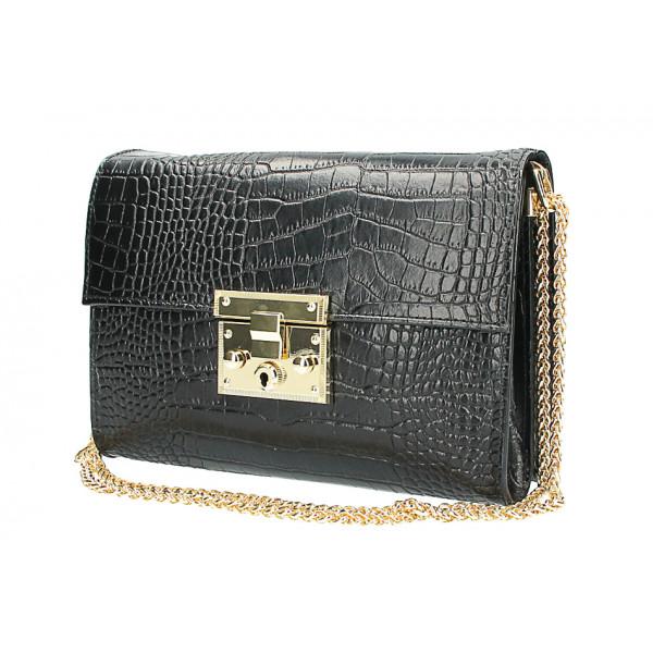 Kožená kabelka MI758 čierna Made in Italy