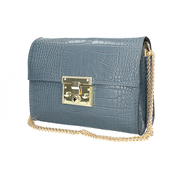 Kožená kabelka MI758 ceruleo Made in Italy Blankytna modrá