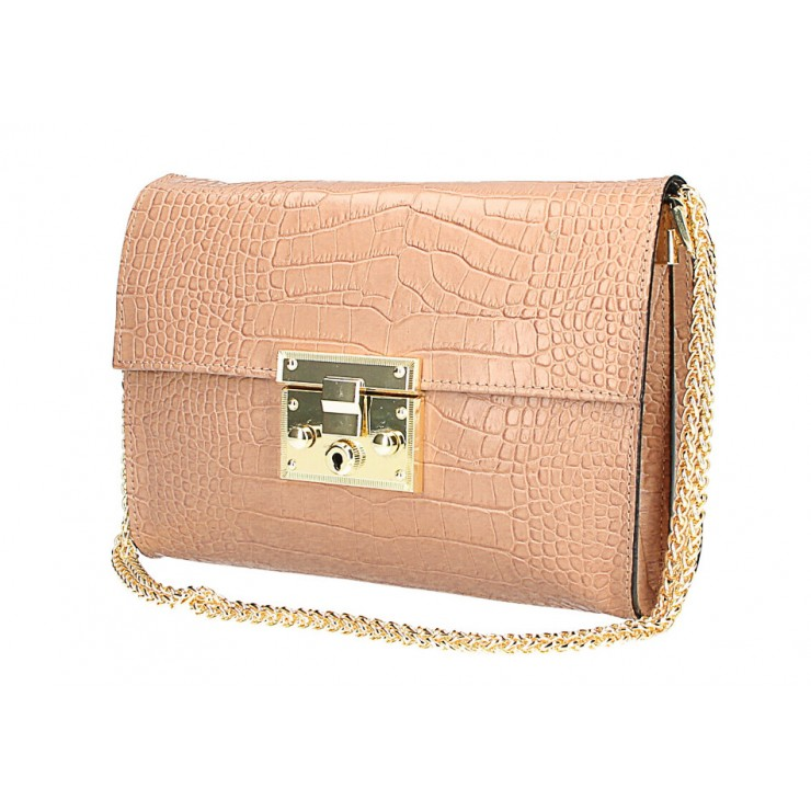 Kožená kabelka MI758 pudrovo ružová Made in Italy