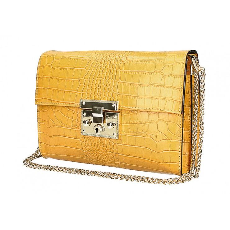 Woman Leather Handbag MI758 mustard Made in Italy