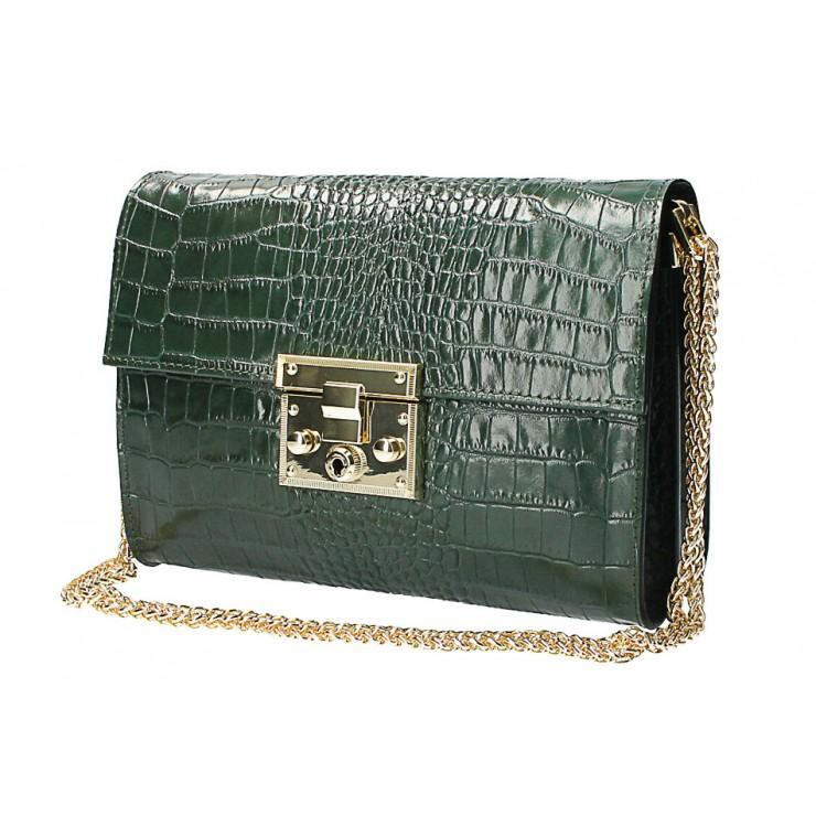 Kožená kabelka MI758 tmavě zelená Made in Italy