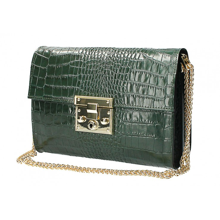 Woman Leather Handbag MI758 dark green Made in Italy
