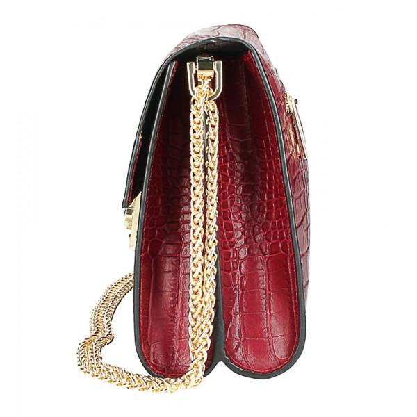 Kožená kabelka MI758 tmavozelená Made in Italy