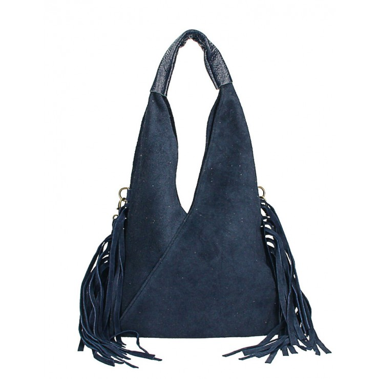 Kožená semišová kabelka MI565 tmavě modrá Made in Italy