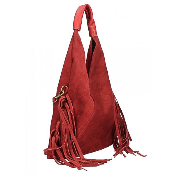 Kožená semišová kabelka MI565 červená Made in Italy Červená