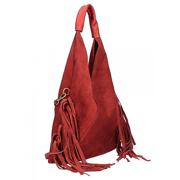 Kožená semišová kabelka MI565 koňaková Made in Italy Koňak