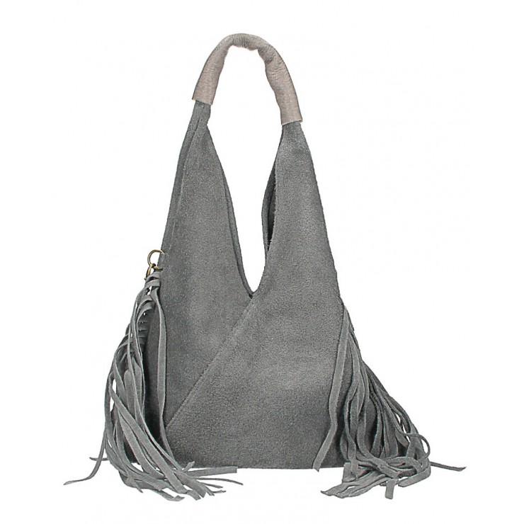 Kožená semišová kabelka MI565 tmavě šedá Made in Italy