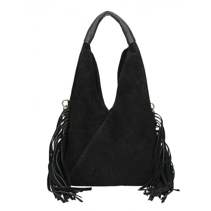 Kožená semišová kabelka MI565 černá Made in Italy