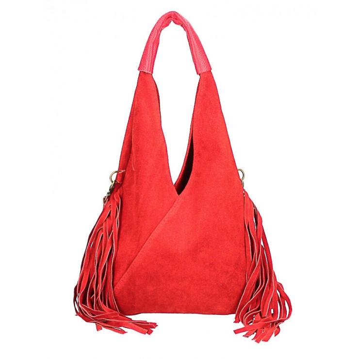 Kožená semišová kabelka MI565 rudá Made in Italy