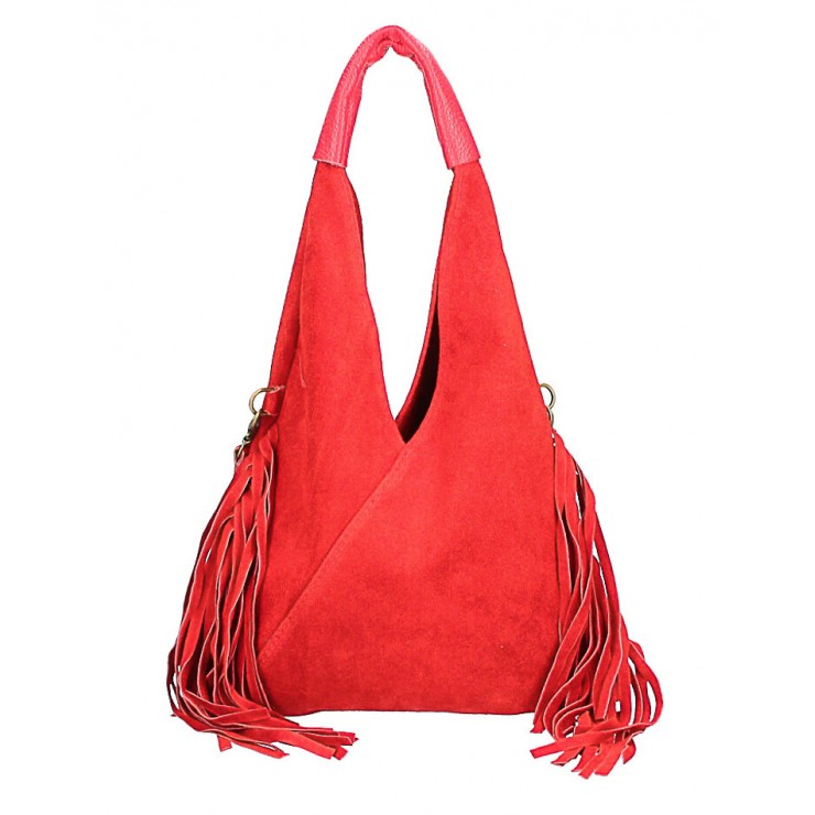 Suede Bag MI565 red Made in Italy