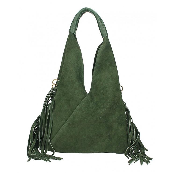 Kožená semišová kabelka MI565 tmavě zelená Made in Italy
