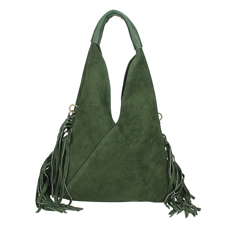 Suede Bag MI565 dark green Made in Italy