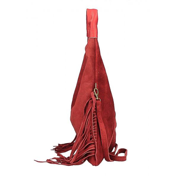 Kožená semišová kabelka MI565 tmavozelená Made in Italy