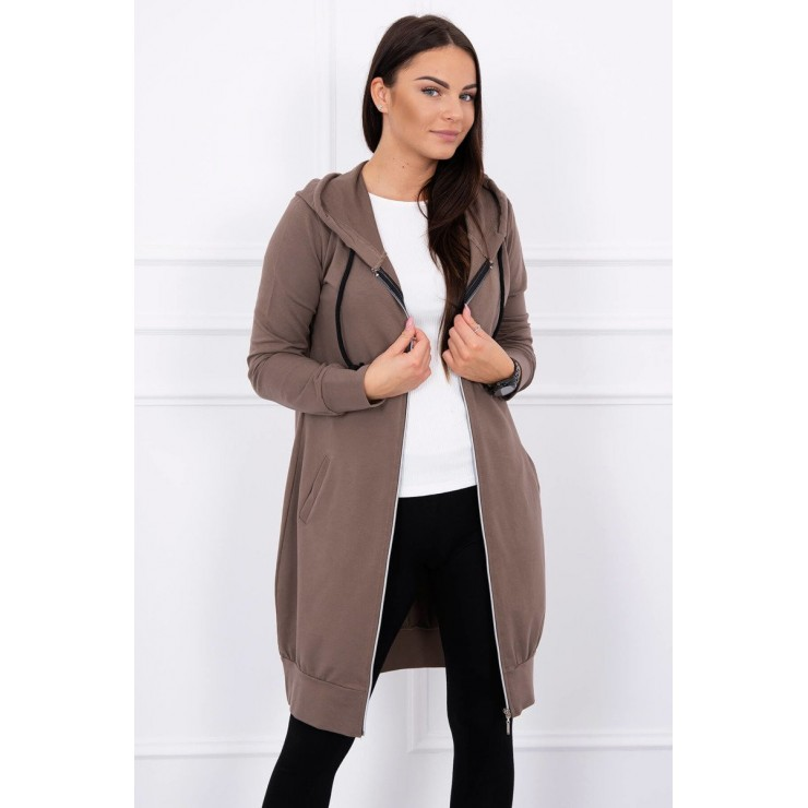 Hooded dress with e hood MI8924 cappuccino