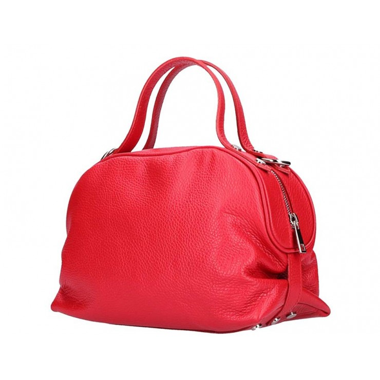 Genuine Leather Handbag 592 red Made in Italy