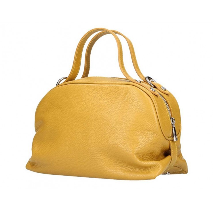 Genuine Leather Handbag 592 mustard Made in Italy