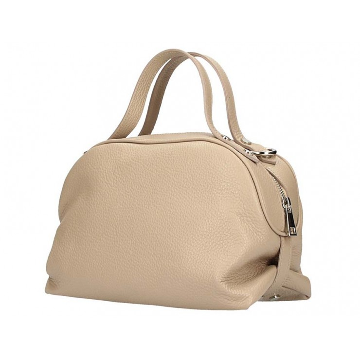 Genuine Leather Handbag 592 taupe Made in Italy